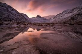 Fotoreise Pink Mirror © Raik Krotofil, Norwegen, Lofoten, Polarlicht, Auroa, Schnee, Winter, Januar, beste Fotoreise