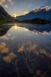 Sonnenuntergang am Sustenpass Bergsee