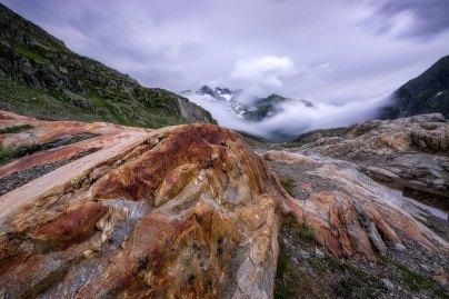 Fotografieren in den Bergen Sustenpass Steingletscher Gewitter Wolken