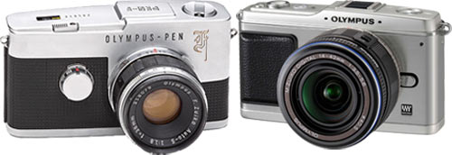 Olympus PEN F and the new E-P1 side by side