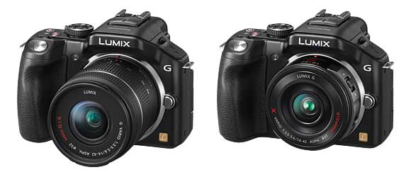 Panasonic Lumix DMC-G5 comes with either Left: 14-42mm standard lens or Right: 14-42mm power zoom lens
