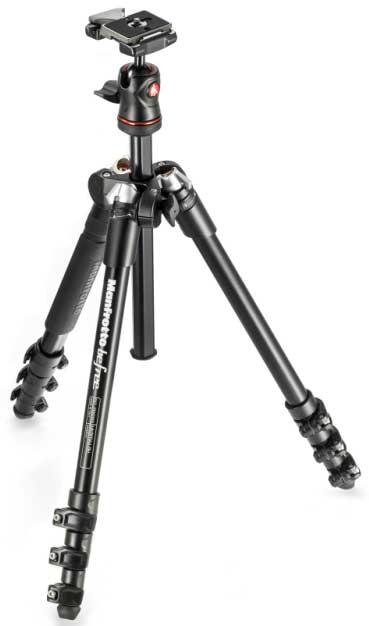 Manfrotto Befree tripod is opened
