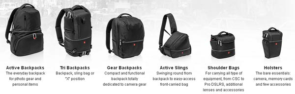 Manfrotto's six different basic bag designs in the Advanced range, each available in a number of sizes.