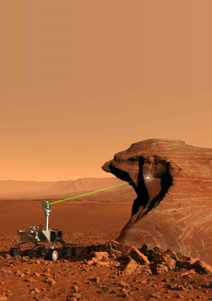 """""""The Laser-Induced Remote Sensing for Chemistry and Micro-Imaging instrument will identify atomic elements in martian rocks."""" Image credit: NASA/JPL-Caltech/LANL/J.-L. Lacour, CEA."""
