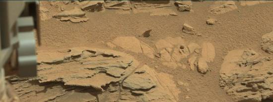 """Another Mastcam shot showed that the Martian """"ball"""" is actually a very small sphere. This image was taken by Mastcam: Left (MAST_LEFT) onboard NASA's Mars rover Curiosity on Sol 746 (2014-09-11 14:46:57 UTC). Image Credit: NASA/JPL-Caltech/MSSS."""