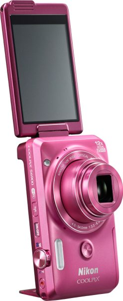 Nikon COOLPIX S6900, pink, with a 3-inch Vari-angle touch screen, built-in kickstand and front shutter release button.