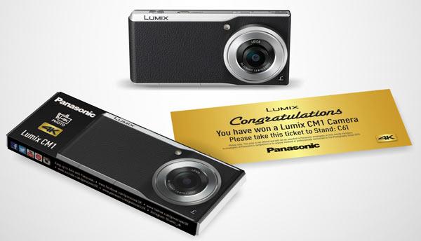 Top to bottom: Panasonic Lumix DMC-CM1, 'Golden Ticket', CM1 chocolate bar