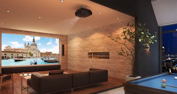 In this image, Epson EH-LS10000 Home Cinema Projector is located on the ceiling. Image extracted from video above.