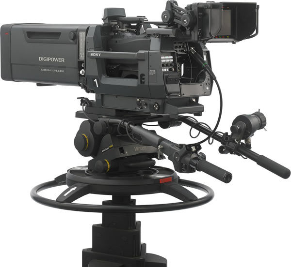 Sony HDC-4300 camera with large studio lens adaptor and LCD viewfinder