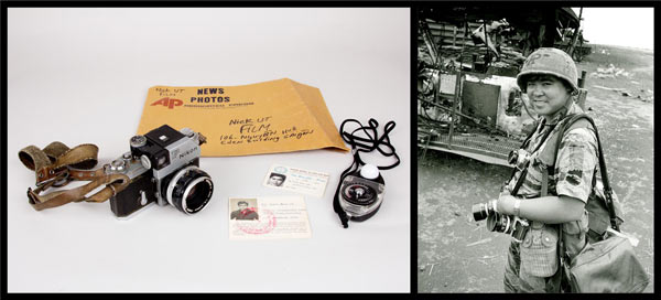 Photographer Nick Ut, right, used this Nikon camera, light meter, press passes and envelope while covering Vietnam for the AP. Credit: Photo of Ut, camera, light meter, envelope and press passes: Loan, Nick Ut