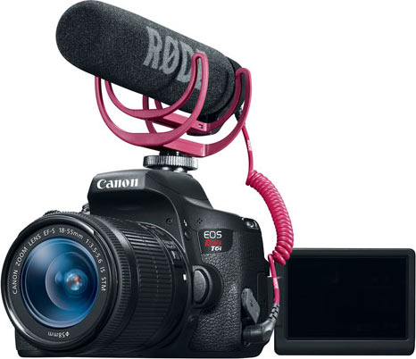 Canon EOS Rebel T6i DSLR Camera with 18-55mm Lens Video Creator Kit