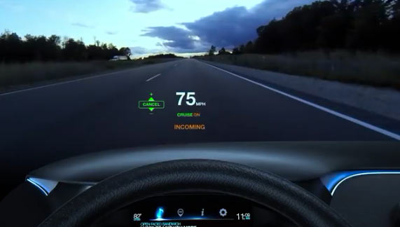 """Panasonic """"heads-up display"""": Image grab from second video below"""
