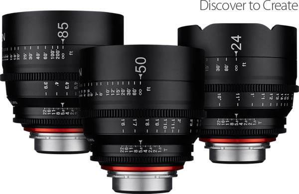 Xeen series: 24mm T1.5, 50mm T1.5, and 85mm T1.5