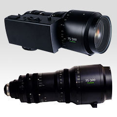 4K Premier PL 25-300mm Cabrio [ZK12x25] zoom lens with an optional, detachable servo unit (top)