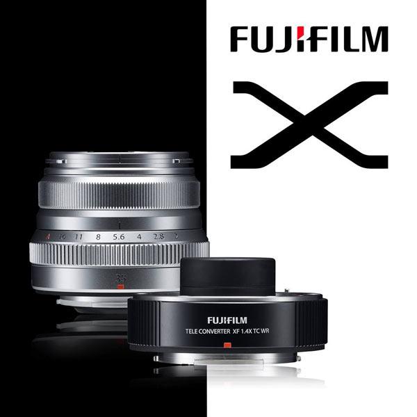 Fujinon XF35mm F2 lens (silver) and Fujifilm XF1.4X TC WR teleconverter