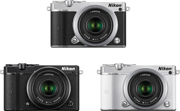 Nikon 1 J5: silver (top), black (left), white (right): Image Courtesy of Design for Asia Awards