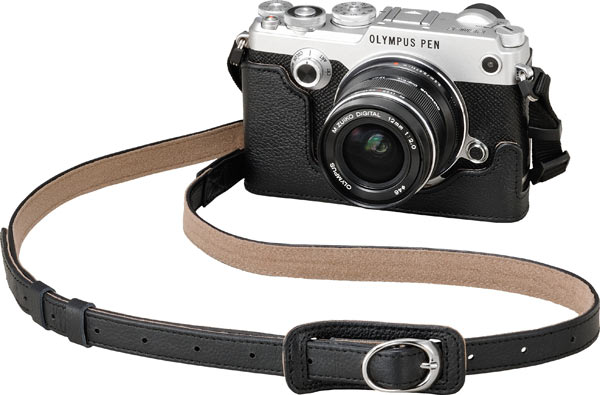 Olympus PEN-F, silver, with Premium Leather PEN Strap (CSS-S109LL II, Black) and Genuine Leather Body Jacket (CS-47B)