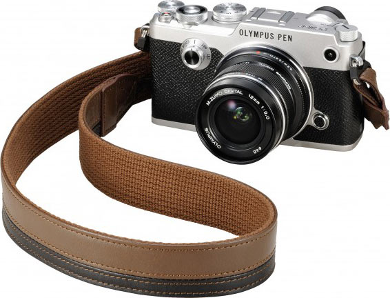 Olympus PEN-F, silver, with Premium Leather Shoulder Strap (CSS-S120L PR) features high-quality leather with a two-tone design and a thickness that helps reduce shoulder strain