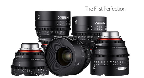 Front row, left to right: XEEN 14mm T3.1, 35mm T1.5 and 24mm T1.5 lenses. Back row, left to right: XEEN 85mm T1.5 and 50mm T1.5 lenses.