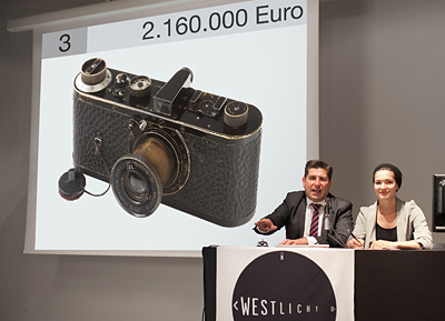 21st WestLicht Photographica Auction May 2012: The hammer goes down for the Leica 0 Series, the most expensive camera ever sold! Image Courtesy of WestLicht Photographica Auction