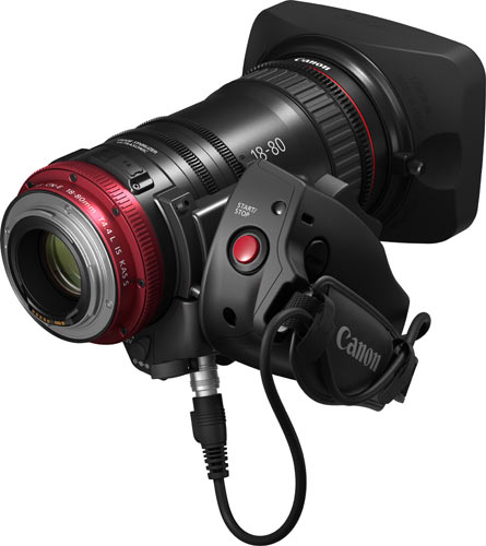 Compact-Servo 18-80mm Zoom Lens- Rear with optional grip accessory, Canon ZSG-C10