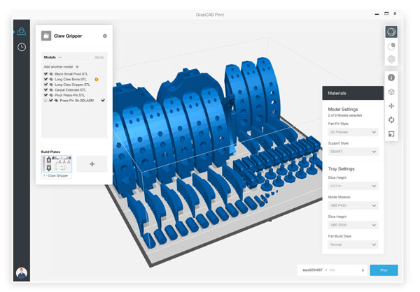 The GrabCAD Print solution's easy-to-use and intuitive print preparation environment removes typical complexities from the design-to-3D print process (Graphic: Stratasys)