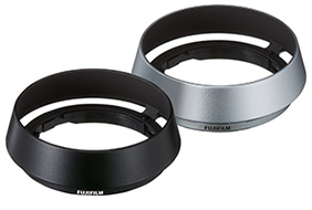 """Fujifilm's vented metal hood """"LH-XF35-2"""": black (left) and silver (right, to be released)"""