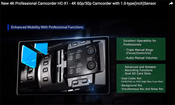 Panasonic HC-X1: Two SD memory card slots. Image grab from video above.