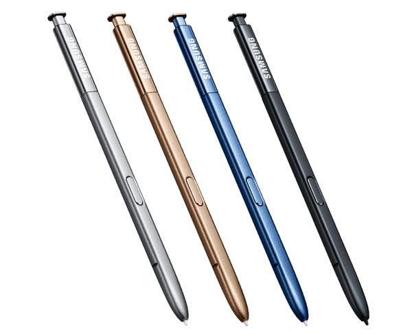 Samsung Galaxy Note7: S-Pen (left to right) Silver Titanium, Gold Platinum, Blue Coral and Black Onyx