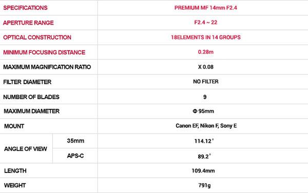 Samyang Premium MF 14mm F2.4 Specifications
