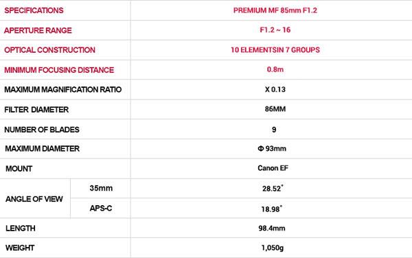 Samyang Premium MF 85mm F1.2 Specifications