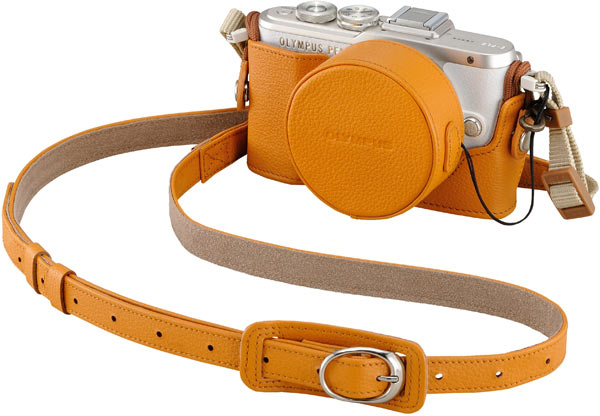 Olympus PEN E-PL8 (White) + optional Genuine Leather Body Jacket, CS-45B (Light Brown) + optional Genuine Leather Lens Cover, LC-60.5GL (Light Brown) + bundled Genuine Leather Shoulder Strap, CSS-S109LL II (Light Brown)