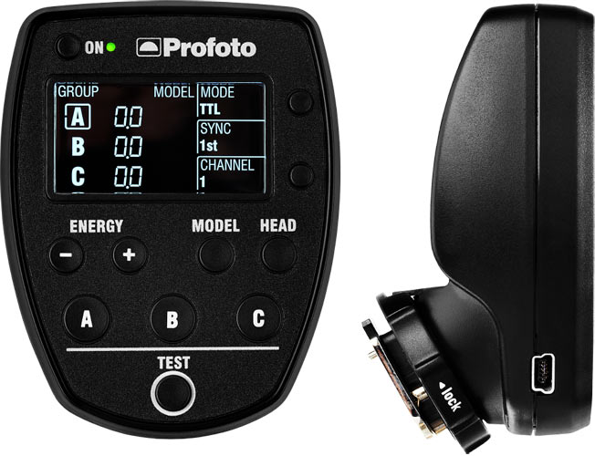 Profoto Air Remote TTL-S: Front view (left), side view (riight)
