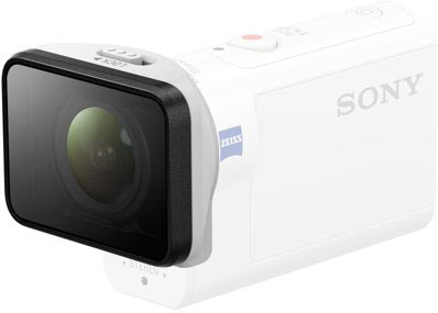 Sony AKA-MCP1 lens shield for HDR-AS300 (above) or FDR-X3000R: Protects lens from dirt and scratches without supplied Underwater Housing. AR coating cuts reflections.