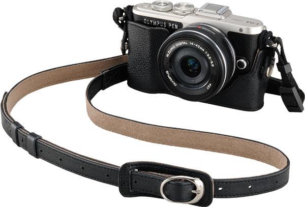 Olympus PEN E-PL8 (Black) + optional Genuine Leather Body Jacket, CS-45B (Black) + bundled Genuine Leather Shoulder Strap, CSS-S109LL II (Black)