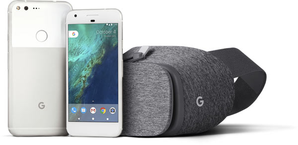 Left to right: Pixel, Phone by Google (Very Silver color) and Google's new Daydream View for VR