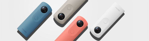Ricoh Theta SC: (From left) blue, beige, pink and white