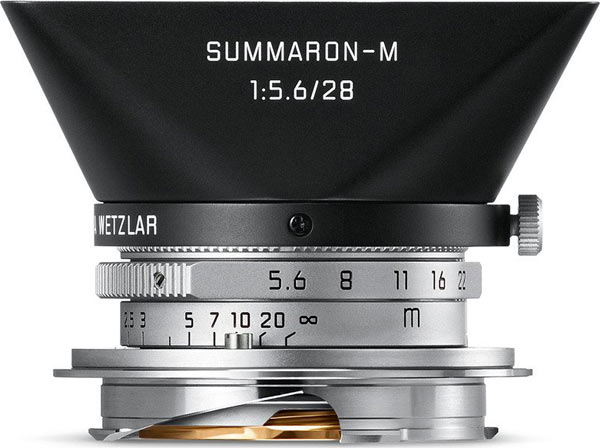 Leica Summaron-M 28 mm f/5.6 with a dedicated metal lens hood