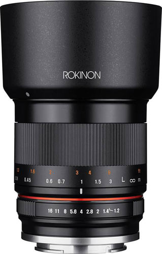 Rokinon 35mm F1.2 with a lens hood