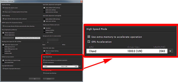 """""""GPU Acceleration"""" in the """"Preference Settings"""""""
