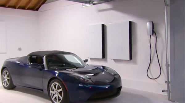 Left to right: Tesla electric vehicle, power walls and charging unit; Image grab from video above