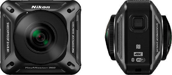 Nikon KeyMission 360: front view (left), side view (right)