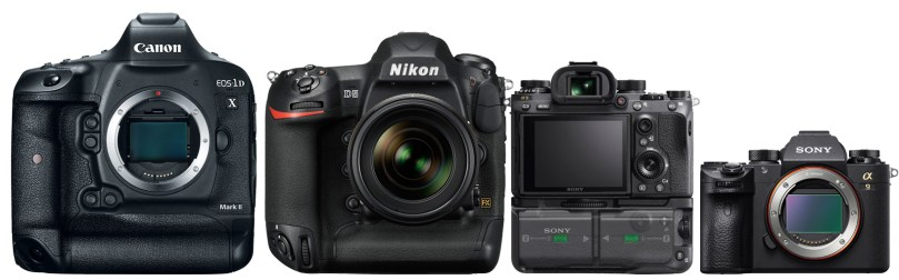 Canon 1DX Mark II - Nikon D5 - Sony A9 (with battery grip) - Sony A9