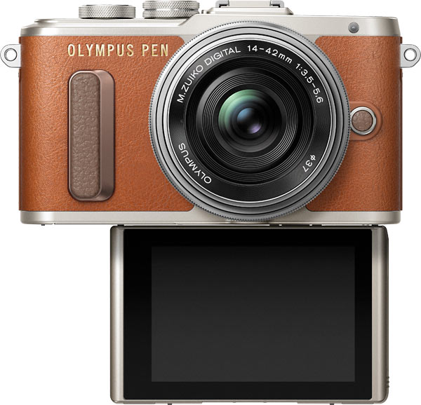 Olympus® PEN E-PL8 (Brown) with LCD Facing Forward