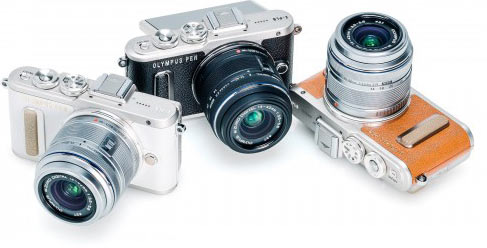 Olympus PEN E-PL8 (left to right): white, black and brown