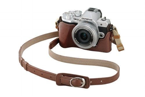 Olympus OM-D E-M10 Mark III with optional genuine leather case and strap
