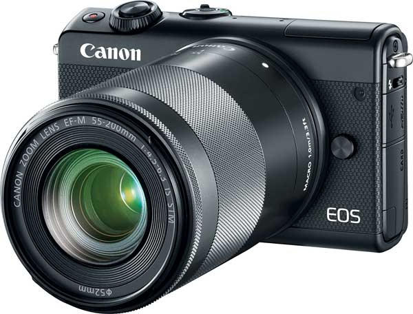 Canon EOS M100, black color, with EF-M 55-200mm f/4.5-6.3 IS STM lens
