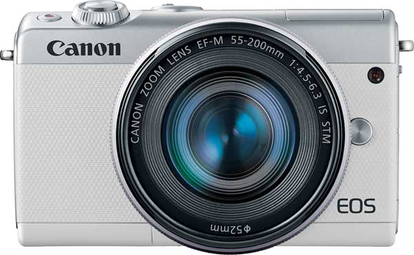 Canon EOS M100, white, with EF-M 55-200mm f/4.5-6.3 IS STM lens
