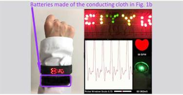 A wristband made of cloth woven from the new yarn battery can power a watch (left), LEDs (upper right), and a pulse sensor (bottom right). Credit: Huang et al. ©2017 American Chemical Society