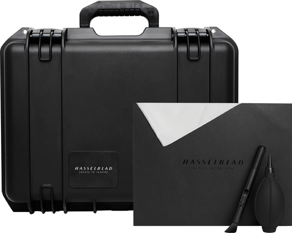 Hasselblad (left to right): X1D Field Kit's Rugged Pelican carrying case, a cleaning cloth, lens pen, and dust blower